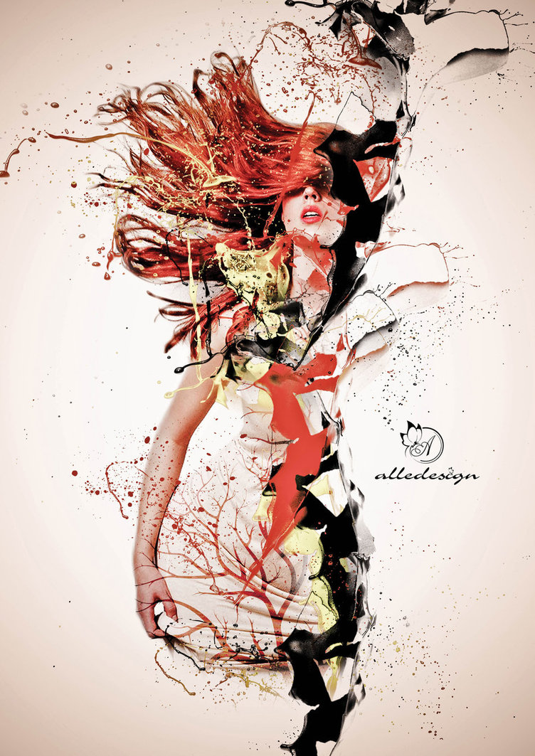 Female With Red Hair Among Paint And Splatter Elements