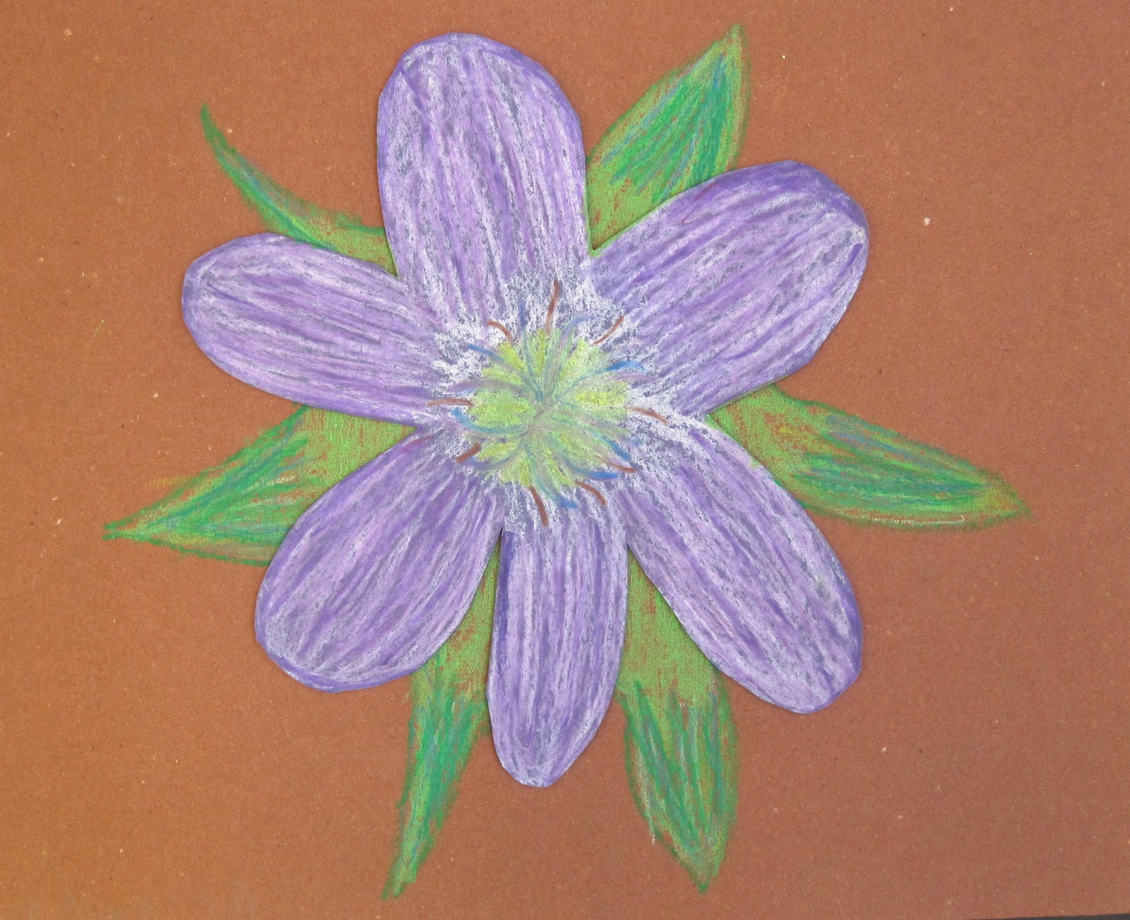 Barstow Art Oil Pastel Flowers by 3rd Grade