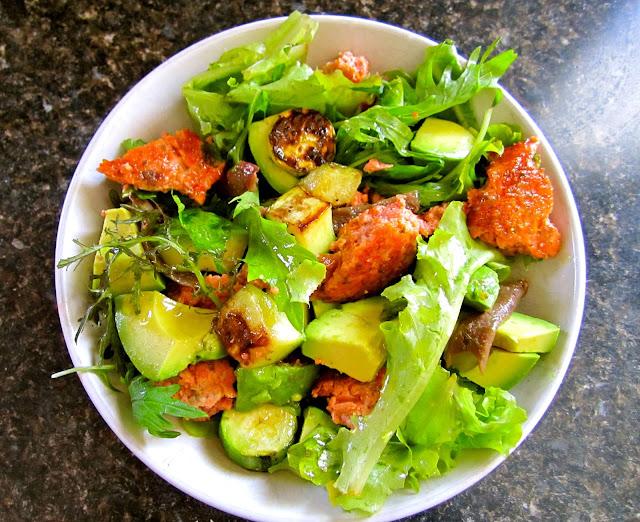 Easy salmon avocado anchovy zucchini salad recipe