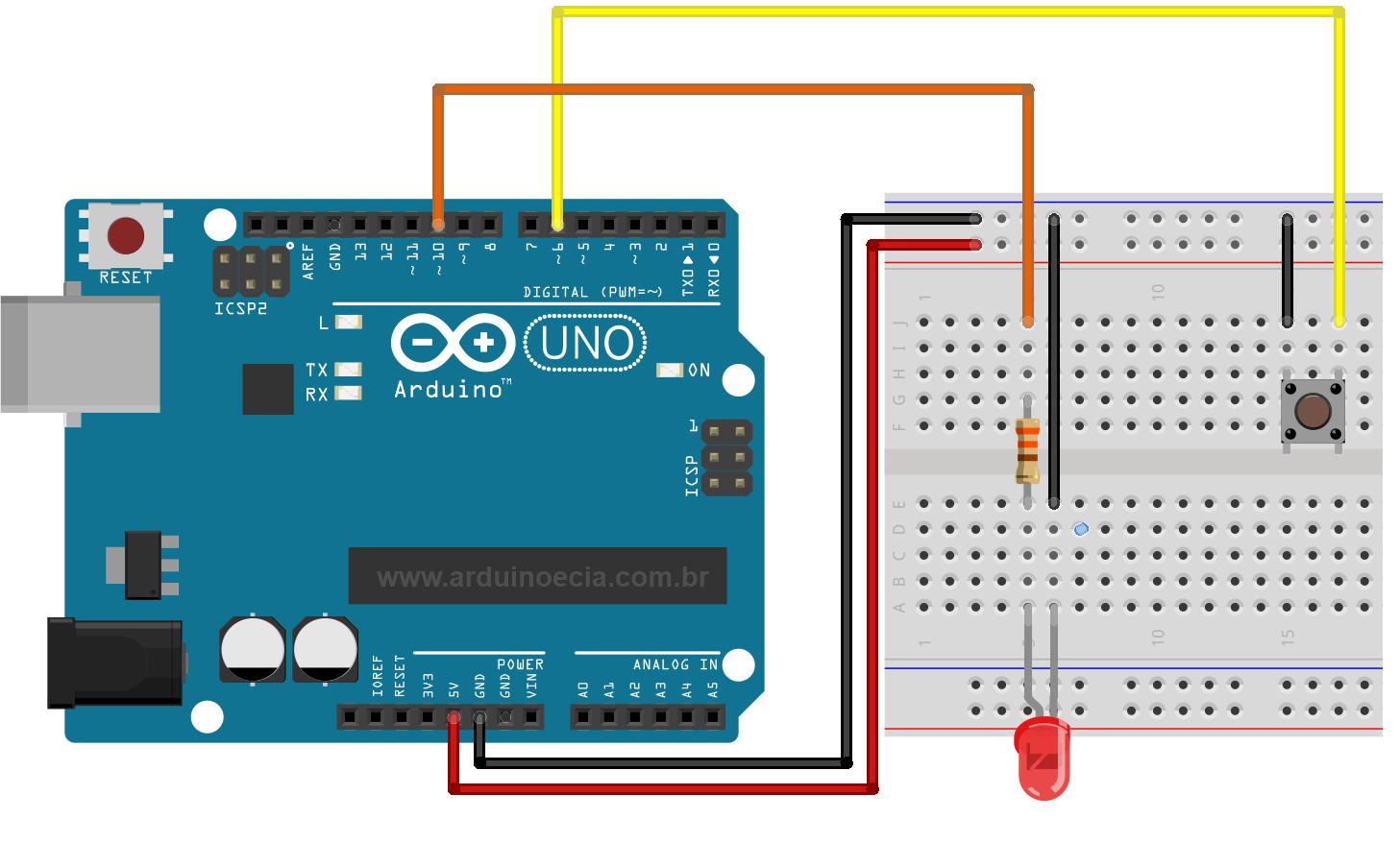 Circuito Ups : Resistor de elevação arduino e cia