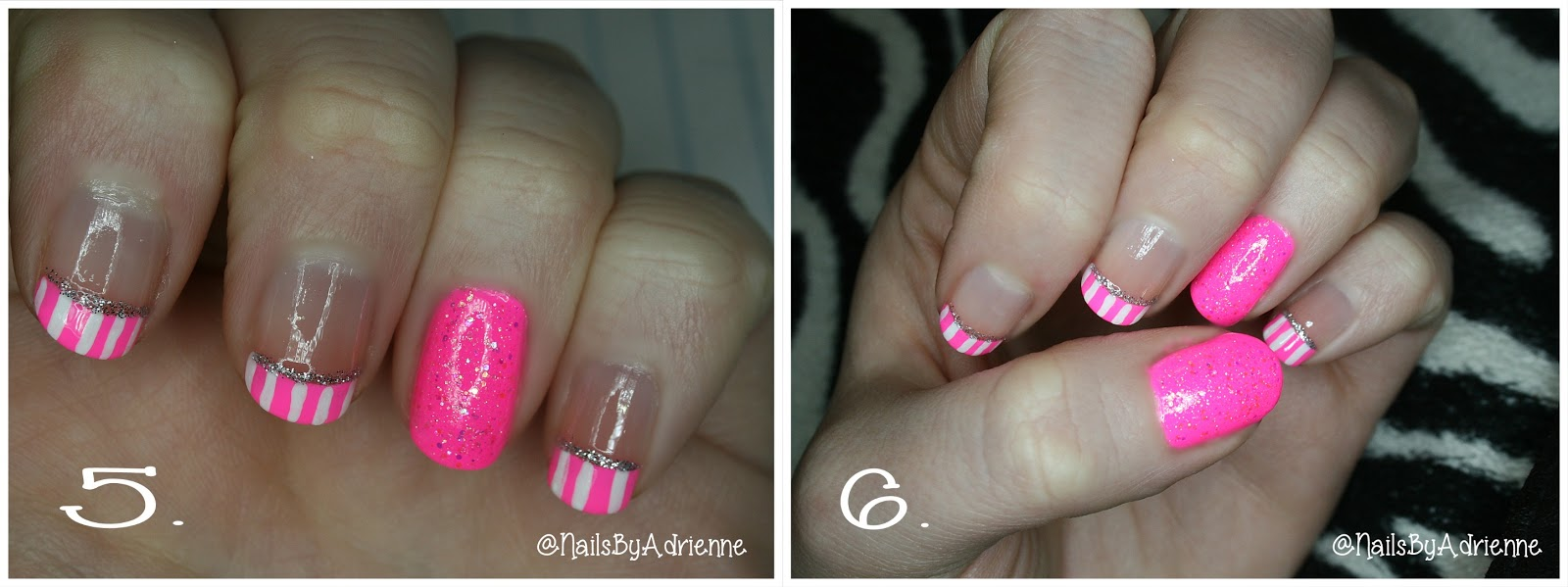 Nails By Adrienne : Neon Pink and White stripes, Nail Tutorial