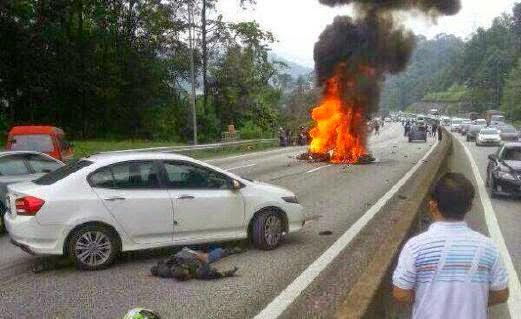 5 Gambar Ngeri Kemalangan Maut Super Bike di Karak