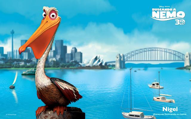 Wallpaper de la película de Pixar buscando a Nemo, el pelícano Nigel