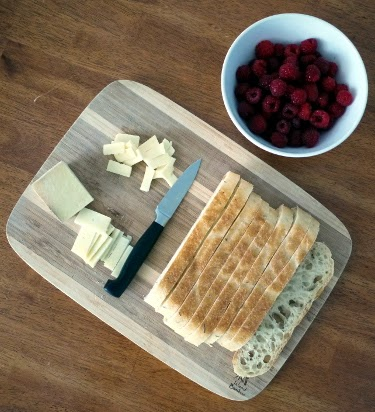 best summer breakfast: raspberries, bread, and cheese