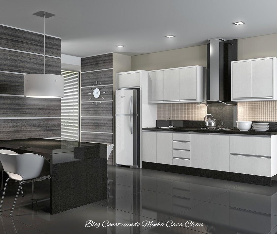 Construindo Minha Casa Clean Cozinhas Modernas com Cinza!!! Pequenas e Grandes! # Cozinha Planejada Cinza E Branco