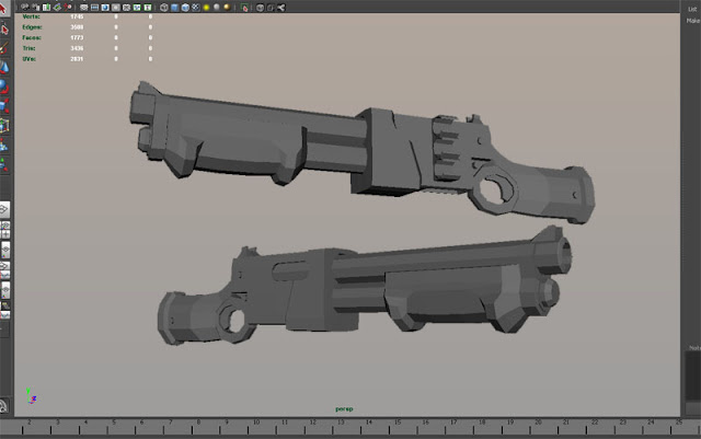 Shotgun base mesh in Maya