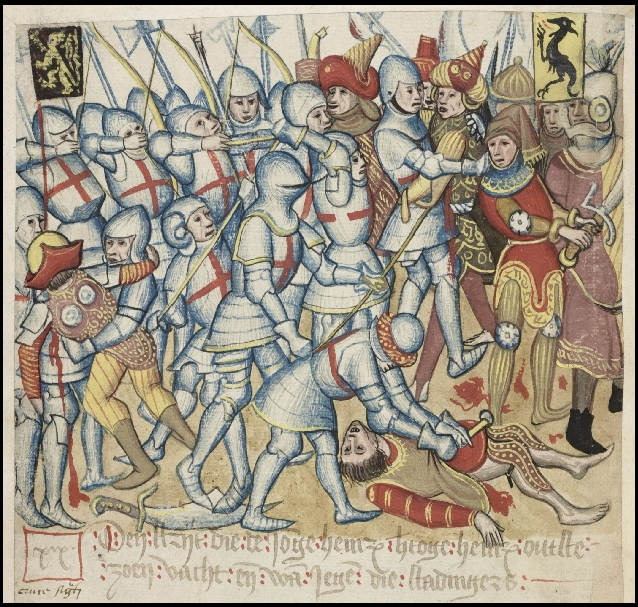armoured soldiers fighting in crowded illustration scene