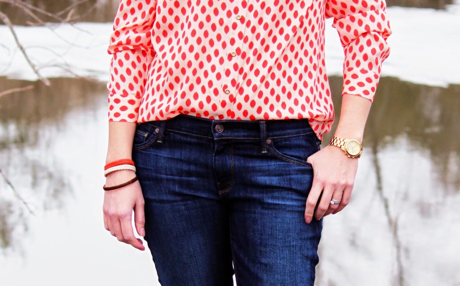 Printed Blouse + Skinny Jeans + Michael Kors Watch // The Salty Hanger