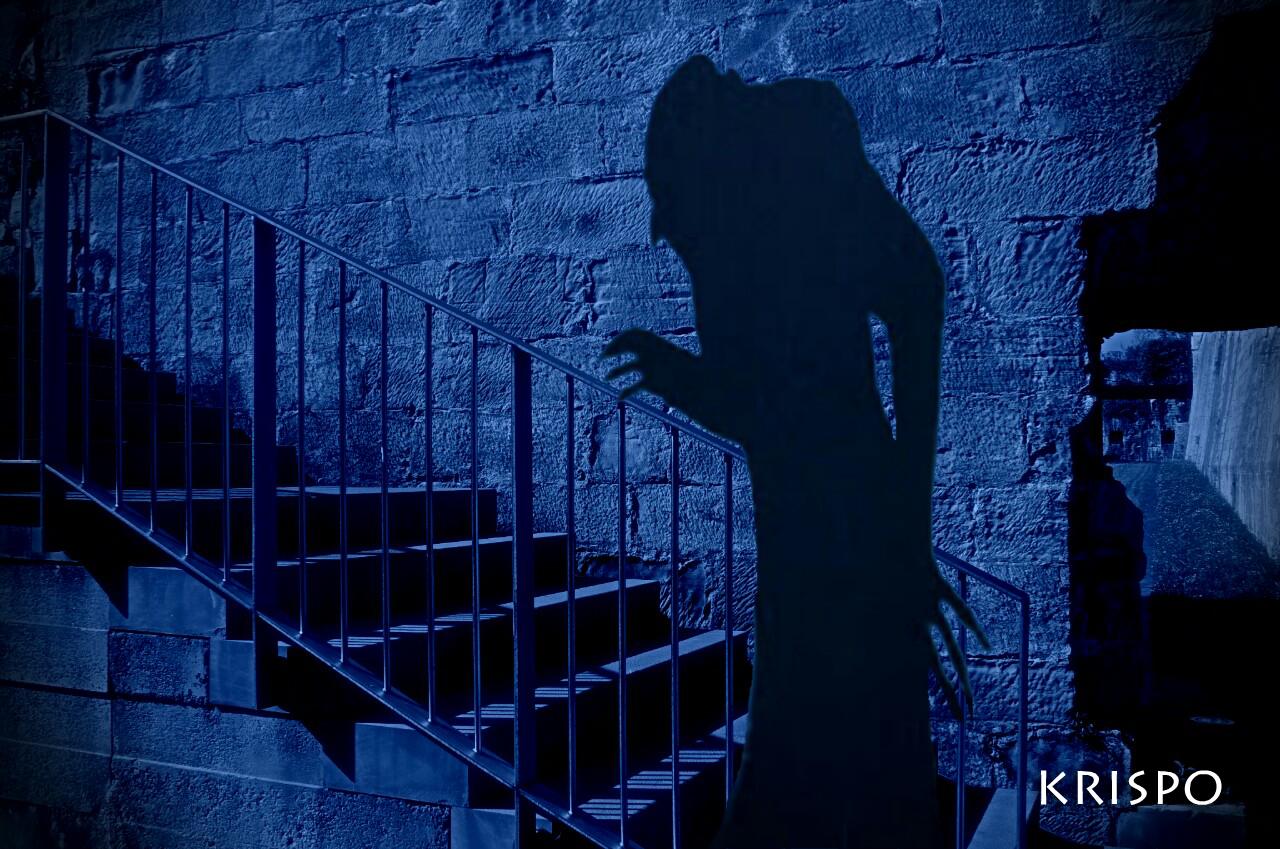 sombra o silueta de nosferatu subiendo escaleras de noche