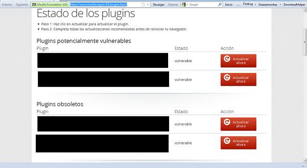 Mozilla Firefox: plug-ins obsoletos y potencialmente vulnerables