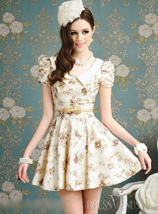 Lovely Bow Knot Short Sleeve Print Dress