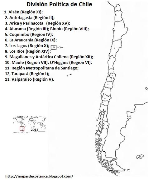 División politica de Chile.  Mapa blanco y negro