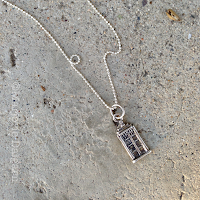 emelinepurcell.etsy.com | Don't Blink Doctor Who TARDIS Fine Silver Pendant with Sterling Silver Chain