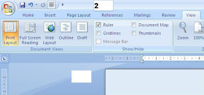 cara Menampilkan garis Mistar di microsoft word 2007