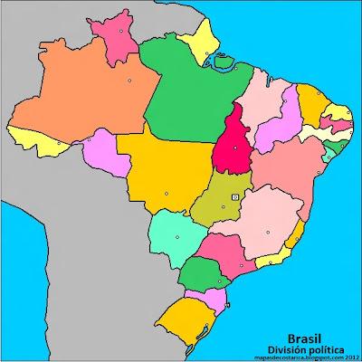 Mapa de los estados y el distrito federal brasileños