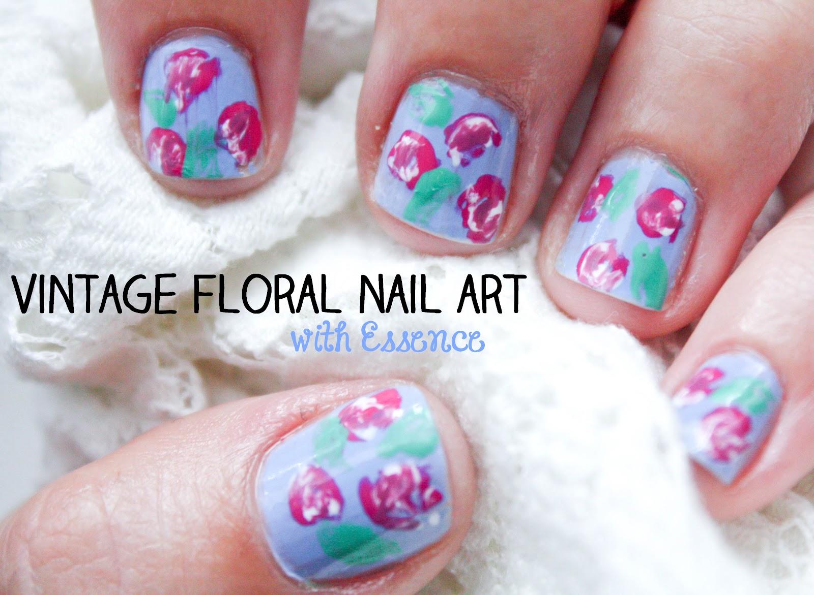 Vintage Floral Nail Art Feat Essence Cityscape Bliss