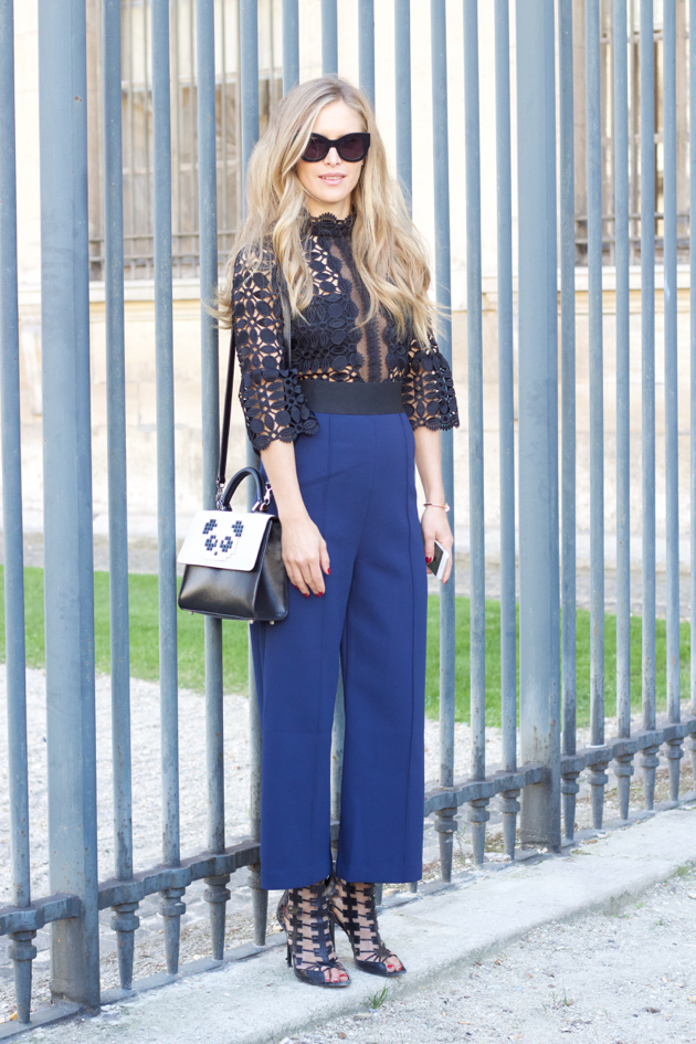 Outside Dior- Look with sheer, lace and blue