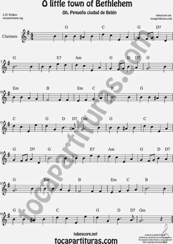 O little town of Bethlehem Partitura de Clarinete Sheet Music for Clarinet Music Score