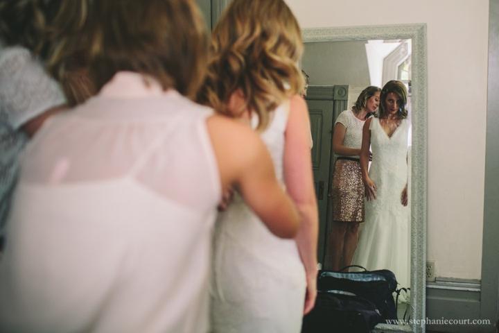 getting ready photo vintage wedding dress