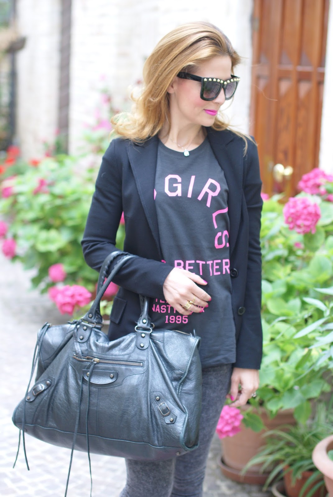 candy yum yum, black Balenciaga work bag, bad girls do it better t-shirt, rock look on Fashion and Cookies fashion blog, fashion blogger style