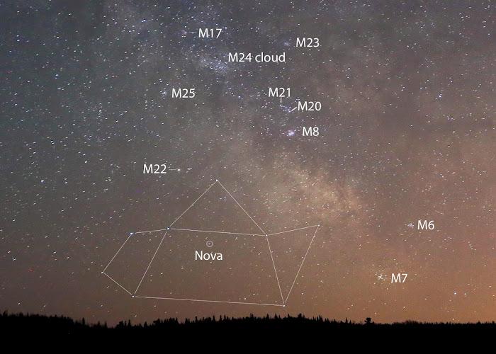 [Ftvh] Vị trí của các thiên thể Messier so với vị trí của tân tinh. Bạn hãy hướng ống dòm về khu vực nầy để tìm ra tân tinh. Tác giả hình : Bob King.