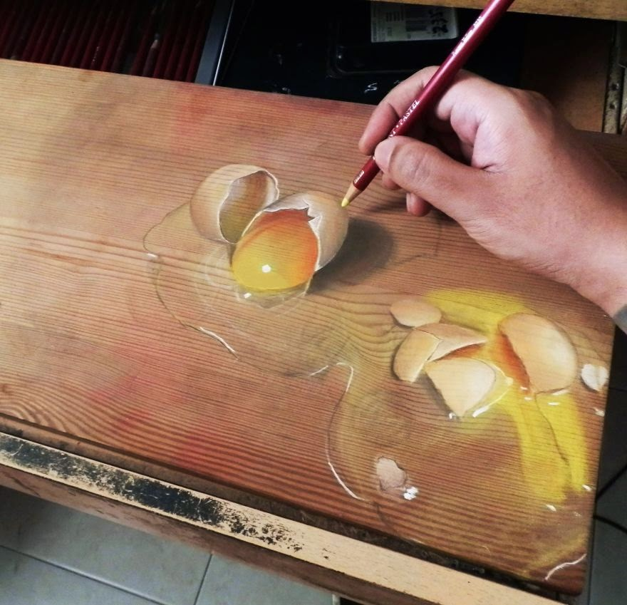 Photorealistic Pastel Drawings On Boards Of Wood Creative Ideas