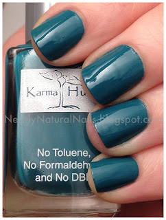 2 coats Karma Hues Florida Mornings, teal nail polish swatch, blue-green nail polish, teal nails, big 3 free, natural nail polish, short nails, manicure, cream finish teal nail polish, swatches, my polish stash,