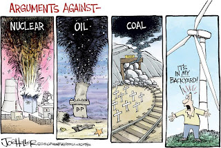 Joe Heller Cartoon: Arguments against different forms of energy