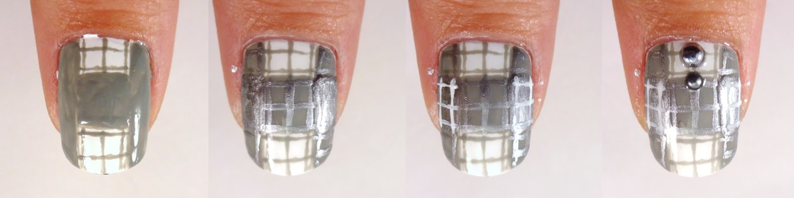 Grey Plaid Nail