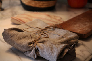 Utensils and plates wrapped in Rough Linen napkins & twine by lb for l&l
