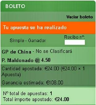 Apuestas Deportivas Rosberg Formula 1- Gran Premio de China Maldonado