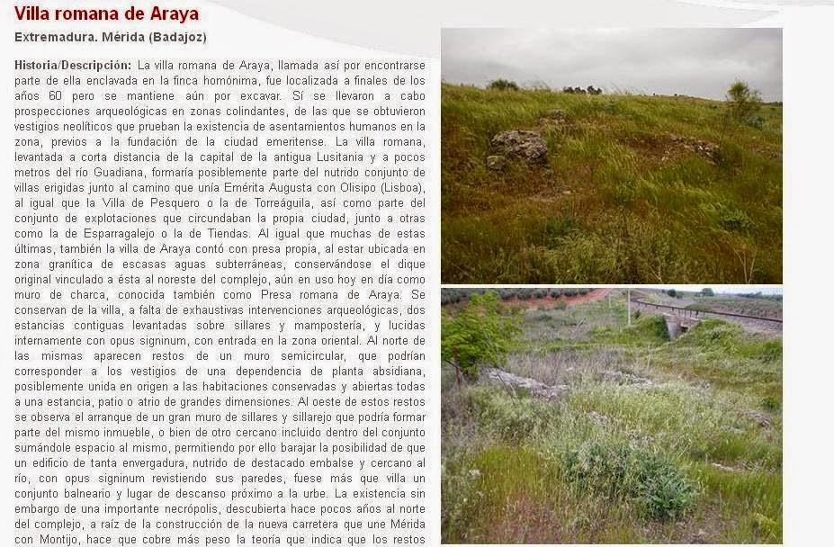Lista Roja del Patrimonio: Villa romana de Araya (Mérida)