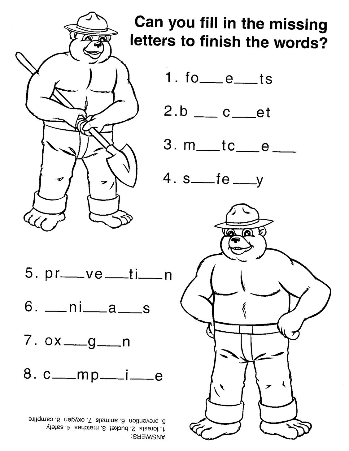 Virginia wildfire information and prevention smokey 39 s for Smokey the bear coloring pages
