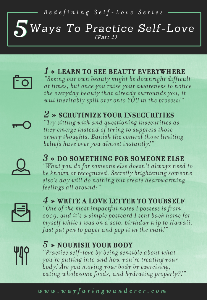 5 Ways To Practice Self-Love Infographic by Wayfaring Wanderer Boone, NC Photographer