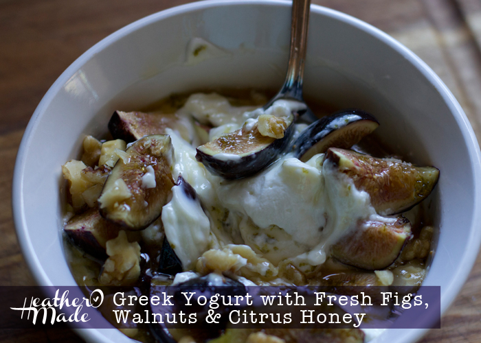 Greek Yogurt with Fresh Figs, Walnuts , Citrus Honey. breakfast recipe.
