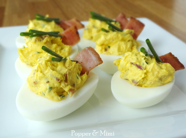 Loaded Baked Potato Deviled Eggs Recipe | popperandmimi.com