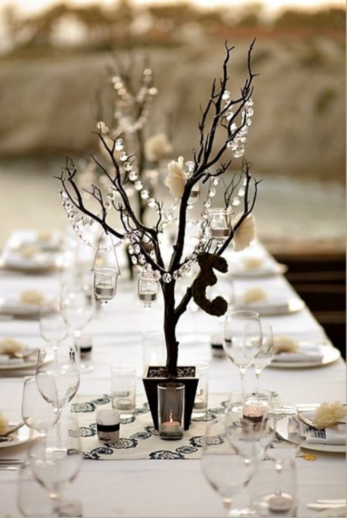Winter wedding table d cor ideas wedding colours for White wedding table decorations