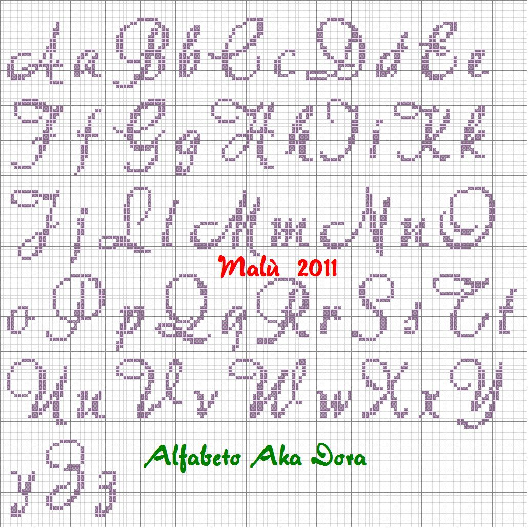 Famous punto croce alfabeti corsivo for Alfabeto punto croce disney gratis