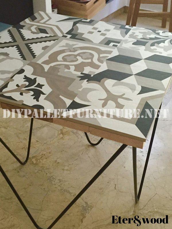 Mesa de dise o decorativa con tablas - Tablas para mesas ...
