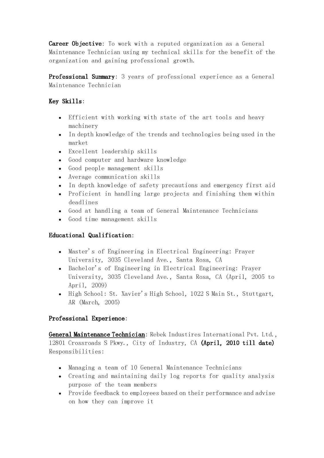 resume samples  general maintenance technician resume
