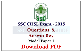 SSC CHSL Exam 2015 Model Paper-I with Answer key
