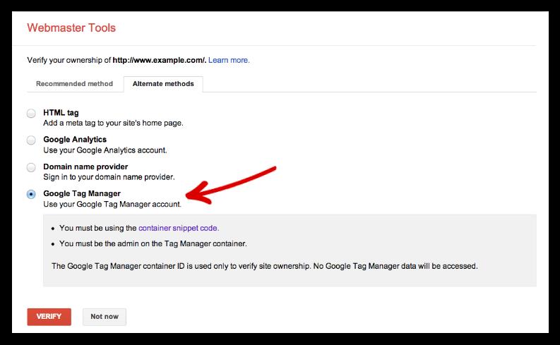 Google tag manager verify