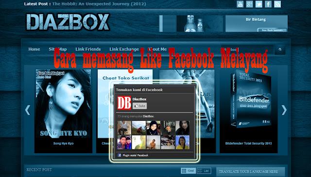 Cara Memasang Like Box Facebook Melayang Di Blog