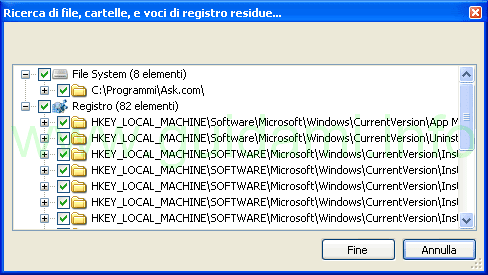 Geek Uninstaller ricerca file, cartelle voci registro residue