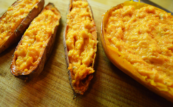 perfect fall breakfast twice baked squash and sweet potatoes