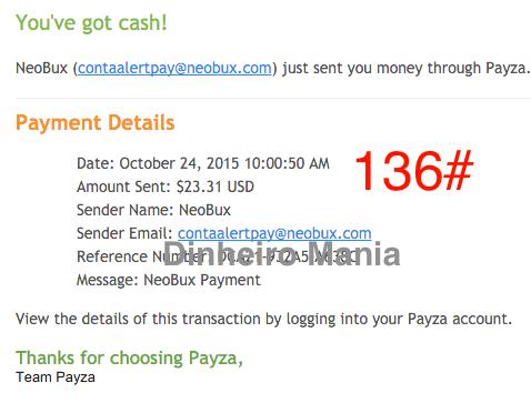 Pagamento Neobux Payza