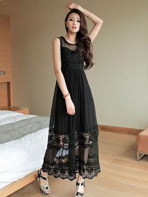 model long dress hitam korea import