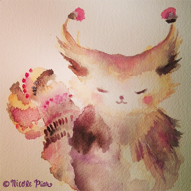 Watercolor Painting of a Anime Cat by Nicole Piar