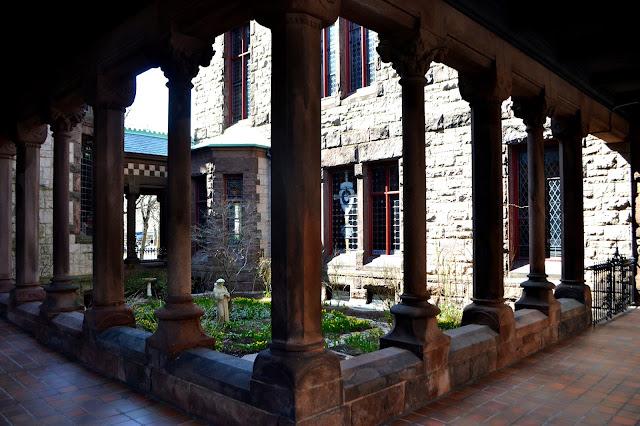 Trinity Church, Courtyard, Boston, Massachusetts, lines, columns