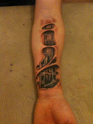 Guitar forearm tattoo ~ Ink your body